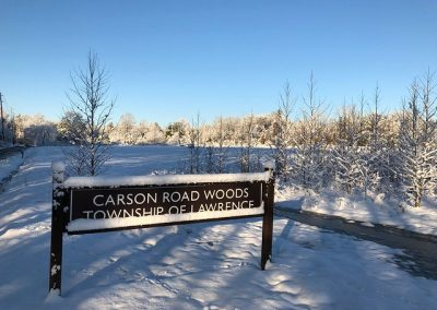 LHT Carson Road Woods sign Winter photo by John Marshall