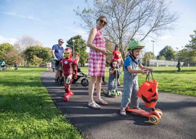 LHT Trail and Treat Mom and kids in Halloween costumes